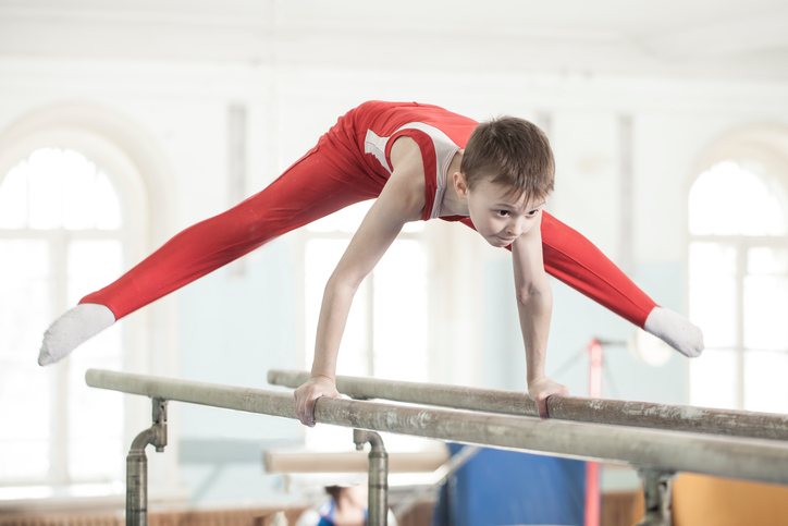 Boy doing gymnastics