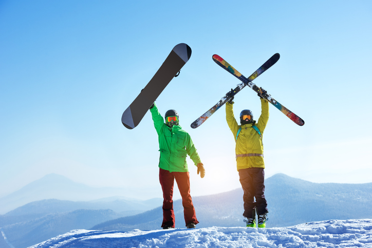 Skier and snowboarder